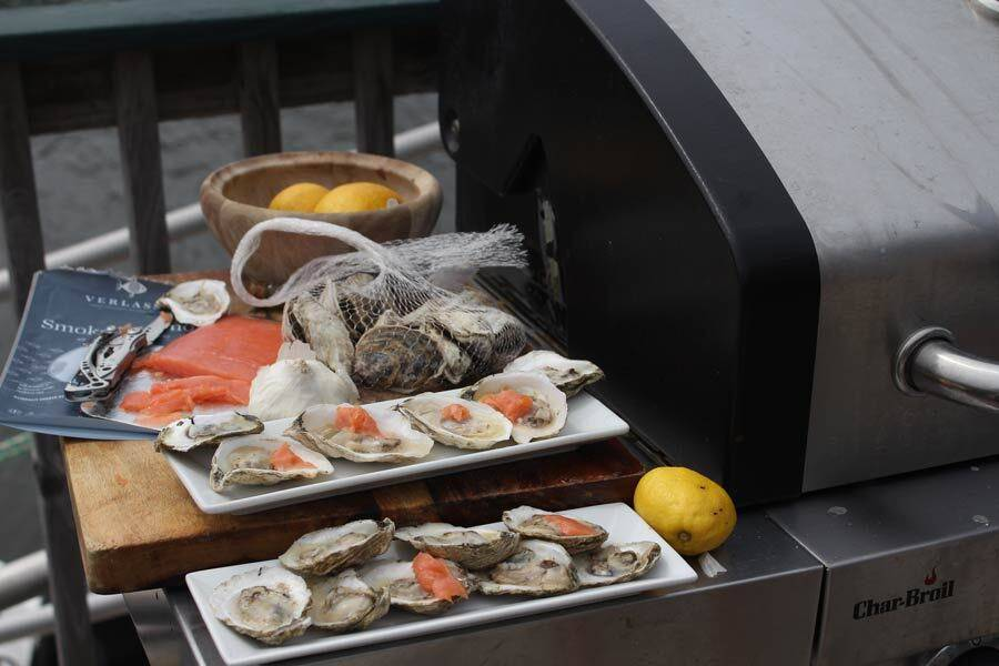 Cape Small Grilled Oysters with Smoked Salmon